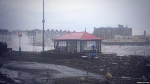Aberystwyth seafront this morning, which was battered by massive tidal surges yesterday