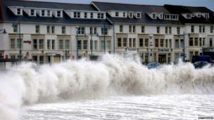 Waves battering the coast