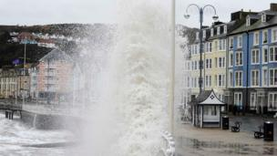 Waves high on the seafront on Sunday in Aberystwyth