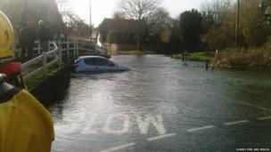 Car flooded in the village of Tarrant Monkton, Dorset. Taken by Dorset Fire and Rescue