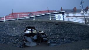 Sea wall at Aberystwyth