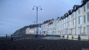 Gregory Miles' photo shows the extent to which stones have been deposited on the promenade at Aberystwyth.