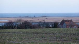 View of HH-60G Pave Hawk helicopter crash from Cley next the Sea, Norfolk