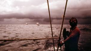 Vital Alsar on a raft at sea