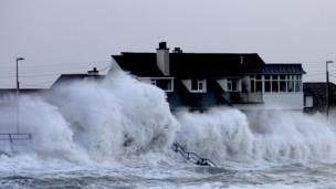 Storm hits Trearddur Bay, Anglesey, seafront