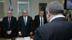 Israel's weekly cabinet meeting held a minute's silence for the nation's 11th prime minister
