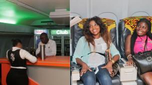 L: Bar staff at La Tante DC 10 Restaurant, Accra , Ghana R: Customers at La Tante DC 10 Restaurant;