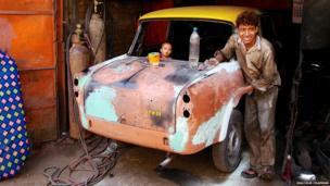 A Mumbai taxi being repaired