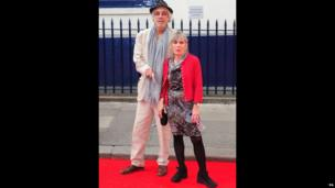 Roger Lloyd Pack and his wife Jehane Markham at the Charlie and the Chocolate Factory premiere at the Theatre Royal Drury Lane in London