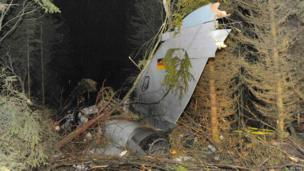 The rear of a crashed German air force Tornado plane