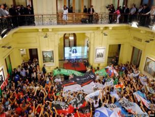 Argentina's President Cristina Fernandez de Kirchner greets supporters