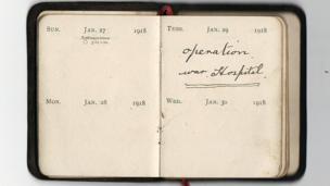 Diary reads: January 29 1918 - operation, war hospital.