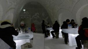 Eating inside the SnowCastle of Kemi