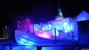 Ice ship sculpture