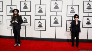 Sean Lennon and Yoko Ono arrive at the 56th annual Grammy Awards in Los Angeles, California