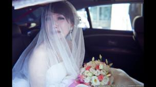 Emotional outpouring of bride