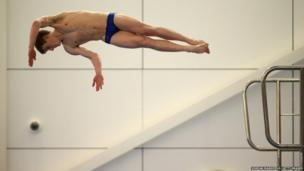 Diver James Denny of England in seen in action during Day three of the British Gas National Cup in Southend, England