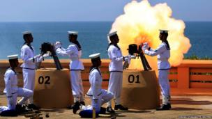 A gun salute in Colombo