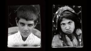 Box camera portraits of a young boy and girl