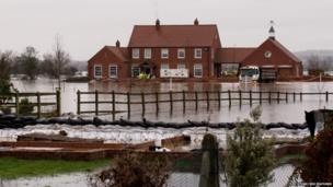 Flooding in Moorland, Somerset