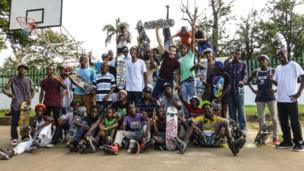 Projecto Radical, with the BBC's Mark Beaumont (centre) in Maputo. Learn more about Mark's journey around the world on the Queen's Baton Relay website.