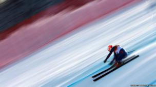 Britain's Chemmy Alcott speeds down the course during the downhill run of the women's alpine skiing super combined event