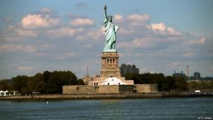 The Statue of Liberty in New York, viewed from the Staten Island Ferry in September 2013