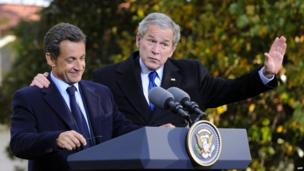 French President Nicolas Sarkozy and US President George W Bush in Mount Vernon, Virginia. Six months after his election, in November 2007, Mr Sarkozy came to the United States for a working visit in order to highlight the importance of the French-American friendship