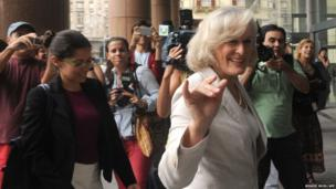 Actress Glenn Close arrives at government house in Montevideo to meet with Uruguayan President Jose Mujica