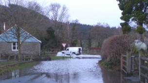 Combe Corner on the B4362 between Shobdon and Presteigne remains covered in floodwater