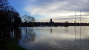 Worcestershire County Cricket Club's New Road ground covered in flood water