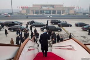 US Secretary of State John Kerry arrives in Beijing