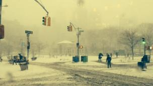Union Square in New York covered in snow. Photo: Steve Newbold