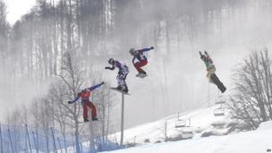 Men's snowboard cross final in Sochi.