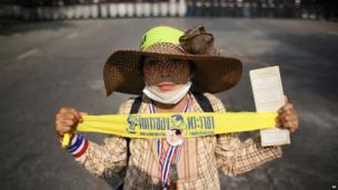 Anti-government protestor in Bangkok