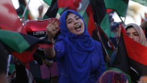 A Libyan girl in Tripoli celebrates the third anniversary of the 17 February uprising.