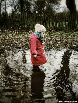 Girl in a puddle