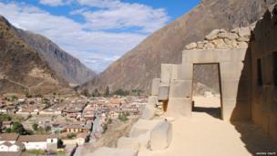 Doorway at the Ollantaytambo archaeological site in Cusco, Peru