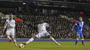 Tottenham's Emmanuel Adebayor scores