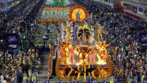 Unidos da Tijuca samba school perform during the second night of carnival parade at the Sambadrome in Rio de Janeiro on 4 March, 2014