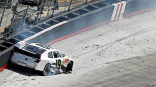 Driver Mike Bliss hits the wall during the Nascar Nationwide series race at Bristol Motor Speedway, Tennessee