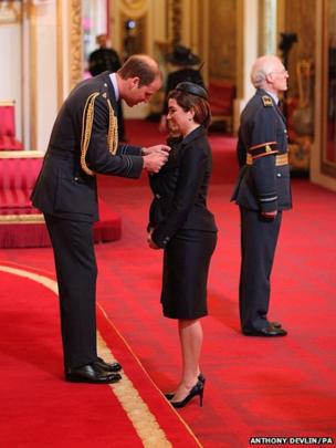 Karren Brady from Solihull is made a CBE (Commander of the Order of the British Empire) by the Duke of Cambridge