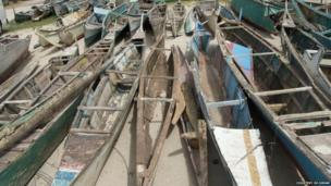 Battered boats on Bantayan Island, Cebu province, Visayas region, the Philippines