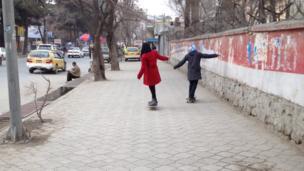 Girls skateboarding in Kabul