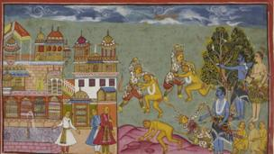 The brothers seek the help of the monkey king after Rama's wife, Sita, is kidnapped by a demon king. Here Rama intervenes in a fight between the monkey king, Sugriva, and his brother and cements an alliance
