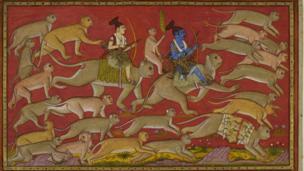 Rama and Laksmana advance with a monkey army