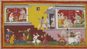 Rama is told by his father that he will be king in a early painting in the great Hindu epic, the Ramayana. Preparations are made for the ceremony.