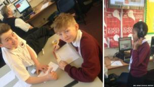Two pupils smile for the camera whilst at their desks and one student poses with head phones