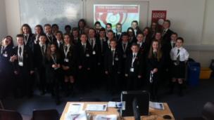 Pupils in the Billericay School BBC School Report newsroom.
