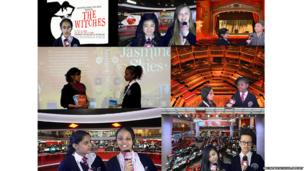 A collage of Brentford School for Girls School Reporters whilst reporting on their stories